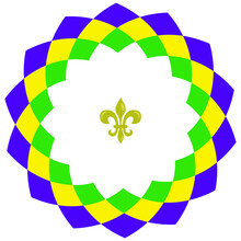Vector Geometrical Wreath; Round Frame For Mardi Gras In Traditional Colors; For Greeting Cards, Invitations, Posters, Banners.