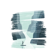 Beautiful Girl Standing On A Kayak With A Paddle In Her Hand, Floating In The Ocean Past Rocks.Typography For Printing T-shirts, Vector Illustration.