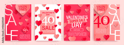 Set Valentine's day sale offer banners with pink and red paper hearts,poster template.Abstract background with hearts ornaments.Discount flyer,card for february 14 Special offers, best deals.Vector