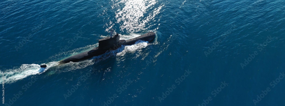 Fototapeta Aerial drone ultra wide panoramic photo of latest technology Greek navy armed diesel powered submarine cruising half submerged the Aegean deep blue sea, Greece
