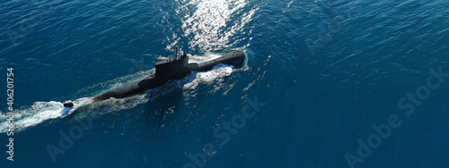 Canvas Print Aerial drone ultra wide panoramic photo of latest technology Greek navy armed di