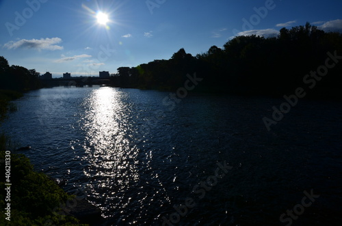 Scenic View Of River By Silhouette Trees Against Sky