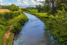 A View From A Bridge Over The Grand Union Canal Near Wistow, UK In Summertime