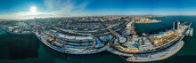 Air Panorama Of Sea Port And Center City Of Odessa Ukraine. Drone Footage, Winter Time And Sunny Day