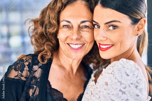 Fotografie, Tablou Beautiful mother and daughter smiling happy and confident