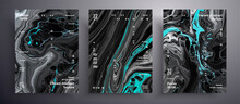 Abstract Liquid Placard, Fluid Art Vector Texture Set. Trendy Background That Applicable For Design Cover, Poster, Brochure And Etc. Black, White And Aquamarine Creative Iridescent Artwork