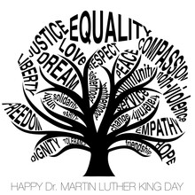 Typographic Tree On A White Isolated Background With The Text Happy Dr Martin Luther King Day
