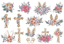 Watercolor Leopard Eater Floral Cross Clipart On White Background. Can Be Used For Baptism Invitation, Easter Greeting Card, First Communion. Jesus Crosses Green Leaves And Red Poinsettia Bouquet