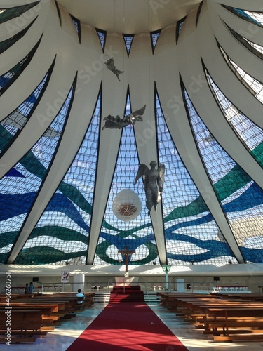Fototapeta Benches In Cathedral Of Brasilia obraz