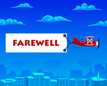 Farewell Banner Is Attached To The Airplane. Vector Illustration