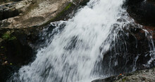 Strong Current Over The Stones Of A Mountain River
