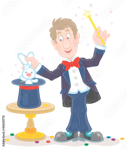 Canvas Artful circus magician illusionist conjuring tricks with a small white rabbit an
