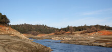 Beautiful Red Rock And Shoreline Of The North Fork Of The American River At Low Water Below The Folsom Reservoir High Water Line