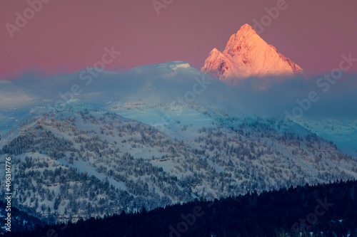 Cuadros en Lienzo Close up alpenglow sunset on Grand Teton snowy mountain peak in Jackson Hole Wyo