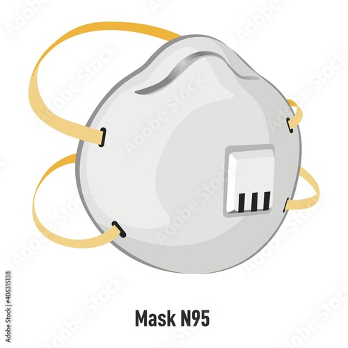 Fotografija Mask N95 with filter and straps for protection