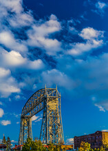 Aerial Lift Bridge At Sunset,  Spans Duluth Ship Canal In Minnesota, Constructed In 1901 And Modified In 1929