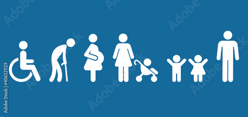 Fototapeta Symbol Priority Disable Passenger Elderly passenger Pregnant Old man Woman with infant child baby orthopedic wheelchair crutches mobility Human vector sign