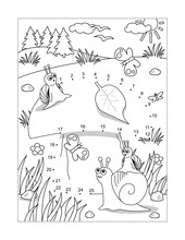 Snails And Mushroom Full Page Connect The Dots Puzzle And Coloring Page, Activity Sheet For Kids. Answer Included.