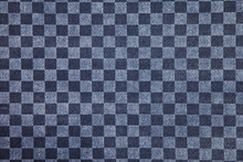 Blue And Gray Checkered Fabric Close Up. Squared Pattern Geometric Background. Copy Space For Site Or Banner