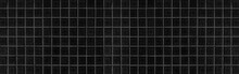 Panorama Of Black Gray Mosaic Floor Pattern And Seamless Background
