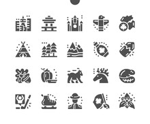 Canada. Symbol Of Ontario Trillium. Canadian Flag. Mountains, Acorn, Wigwam, Skates, Totem, Vancouver, Beaver And Bear. RCMP Officer. Vector Solid Icons. Simple Pictogram