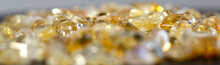 Citrine Yellow Gem Geode Crystals Geological Mineral As Nice Background Tilt Shift Close Up