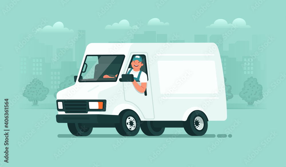 Fototapeta Delivery service. A male driver in uniform rides in a van against the backdrop of the city. Carrier