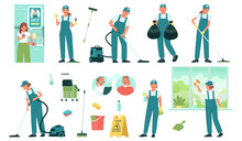 Set Of Cleaning Service Employees And Equipment And Tools For Cleaning Premises. Cleaning Order