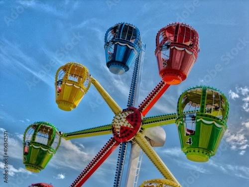 Fotografiet Low Angle View Of Amusement Park Ride
