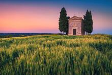 Small Vitaleta Chapel And Grain Fields At Sunset, Tuscany, Italy
