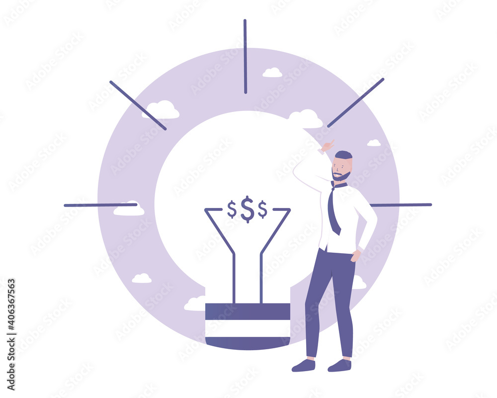 Fototapeta Man get new idea and solution. Light bulb metaphor. Vector illustration for telework, remote working and freelancing concept, business, start up.