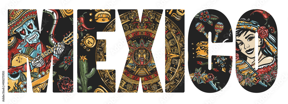 Fototapeta Mexico slogan. National culture and people. Skeleton with guitar, mexican woman, bandit and aztec sun stone. Mayan calendar. Day Of Dead art. Old school tattoo vector art