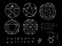 Hand Drawn Witchcraft Magic Circle Collection. Pentagram And Ritual Circle. Emblems And Sigil Occult Symbols. Bloody Style For Horror Game Art. Halloween Concept.