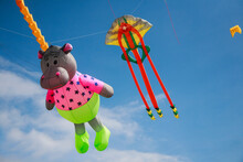 A Jellyfish And Hippopotamus Kite Flying In The Sky At Southsea International Kite Festival