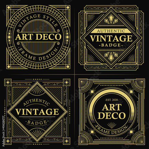 Fototapety, obrazy: Vintage gold art deco badge Premium Vector
