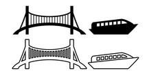 橋, 船のイラストアイコンベクターセット