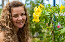 Brazilian Blonde Woman Closeup In Home Garden