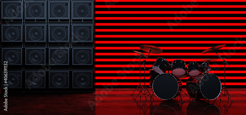 Slika na platnu The drum kit stands between two walls of guitar amplifiers against a background of horizontal red glowing bands