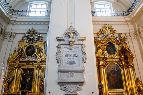 Fototapeta Pillar containing Frederic Chopin's heart inside the Holy Cross Church in Warsaw, Poland, Eastern Europe obraz