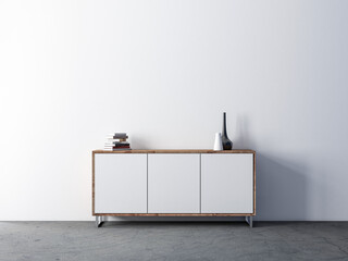Modern white wooden cabinet mockup in empty living room