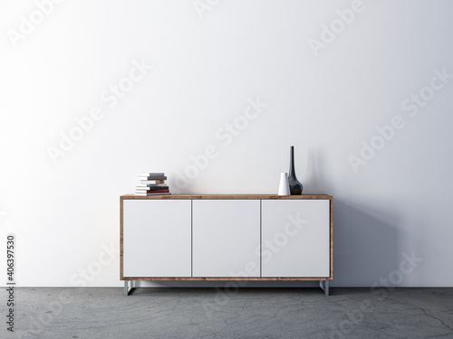 Modern white wooden cabinet mockup in empty living room - fototapety na wymiar