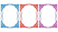 Three Vector Colorful Floral Frame Design In Illustration