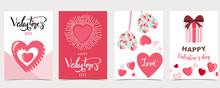 Collection Of Valentine's Day Background Set With Chocolate,cake.Editable Vector Illustration For Website, Invitation,postcard And Sticker.Wording Include Be My Valentine