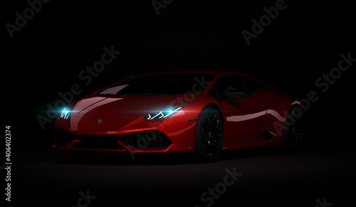Almaty, Kazakhstan. Juli 05: Lamborghini Huracan. luxury stylish sport car on dark, black background. 3D render