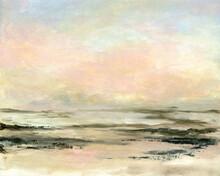 Sunset Sea Painting Of Calm Hazy Ocean Beach, Hand Drawn Landscape .