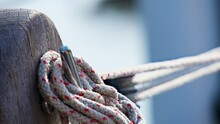 Ropes Tied To A Wooden  Pole
