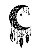 Moon Dream Catcher With Threads, Beads And Feathers. Vector Tribal Illustration In Boho Style. Ethnic Indian Dreamcatcher With Space For Text. Silhouette, Symbol.