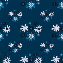 White And Blue Vintage Doodle Flowers Seamless Pattern In Hand Drawn Style. Navy Blue Background.