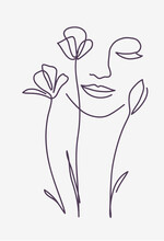 One Line Drawing. Abstract Beautiful Girl With Flowers. Female Beauty Icon. Vector Illustration.