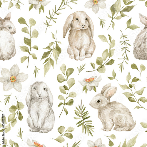 Fotografia Watercolor seamless pattern with cute white rabbits and leaves